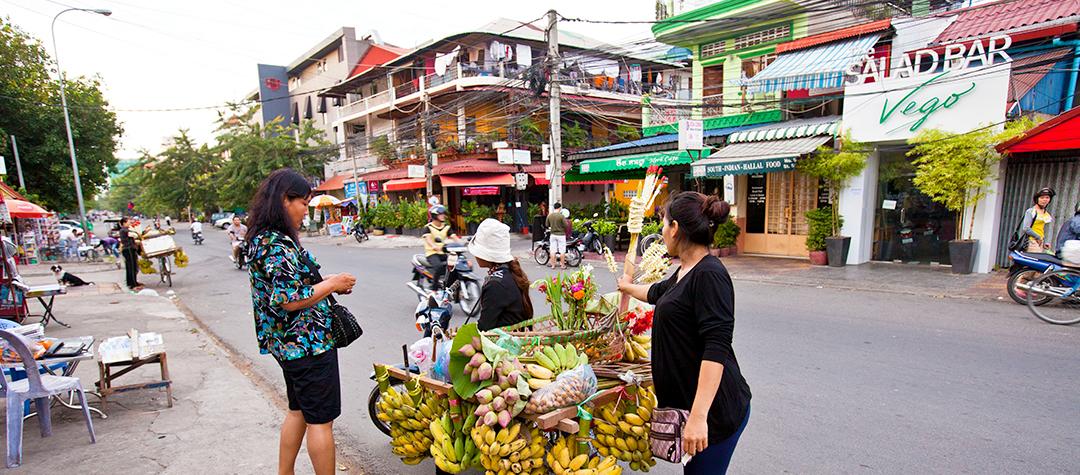 Bild från en gata i Kambodja