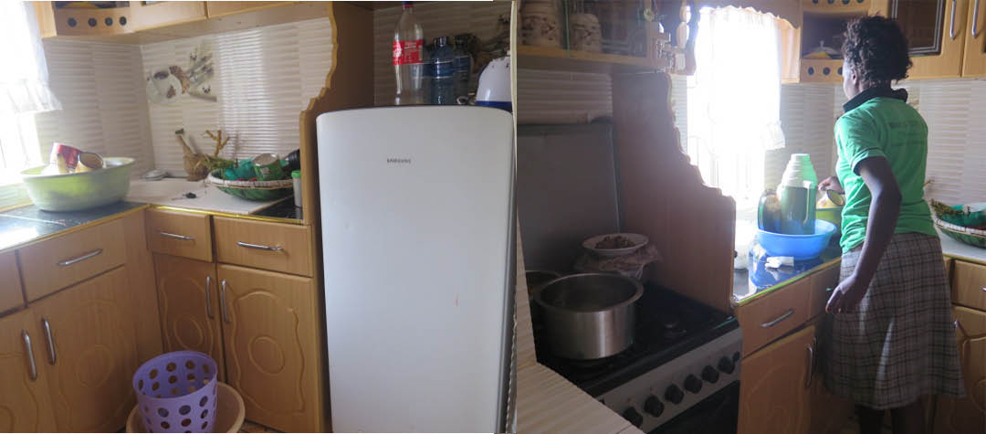 Köket hemma hos Elvis har ett kylskåp och en elektrisk spis.