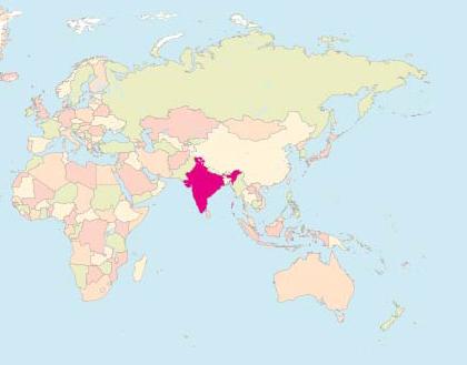 Karta över var Indien ligger