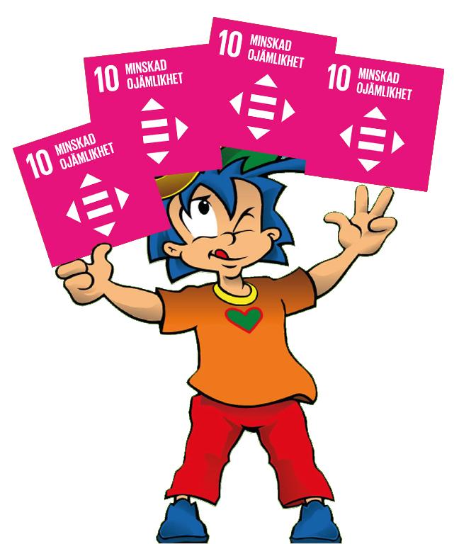 Rafiki jonglerar med Globala målet nummer 10