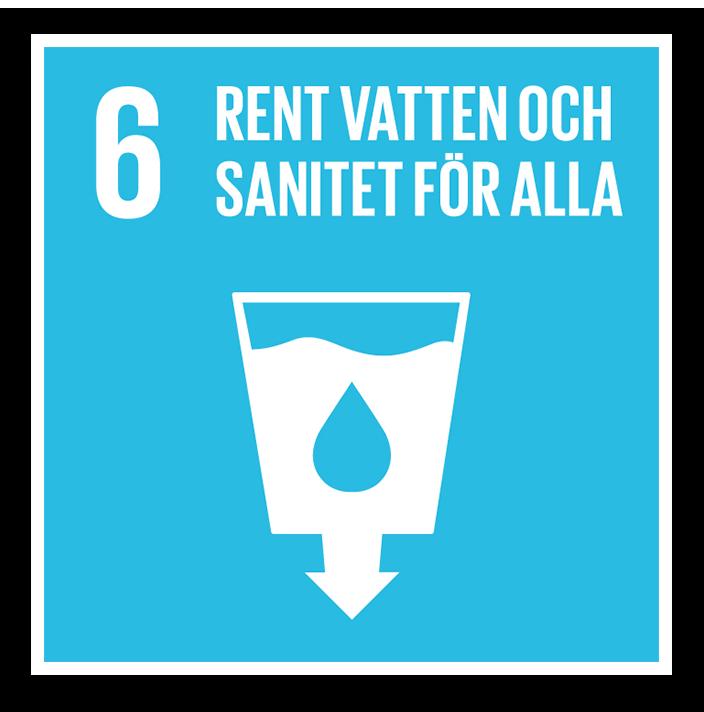 Logotyp för det globala målet nummer 6 - Rent vatten och sanitet för alla